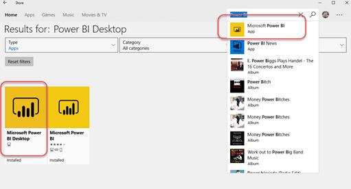 Installing Power BI Desktop from the Microsoft Store