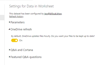 Refresh options for workbooks in OneDrive/SharePoint