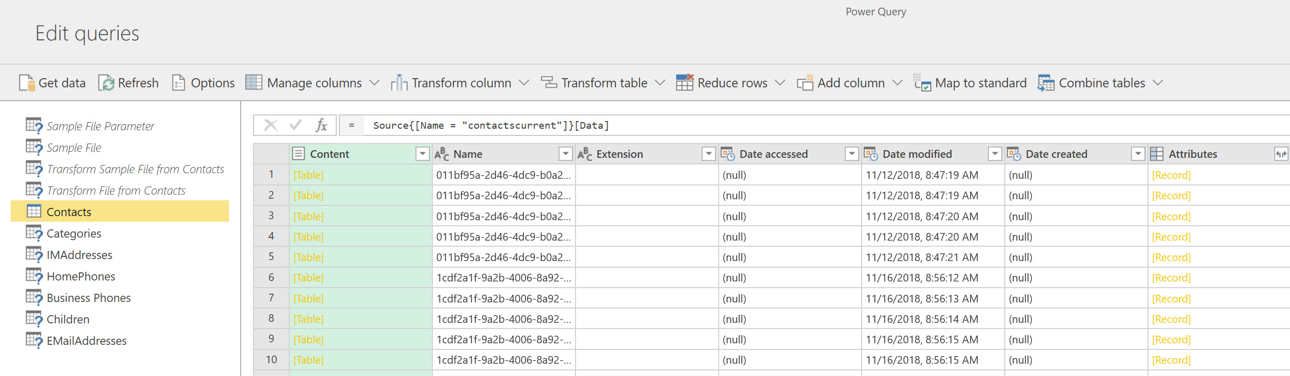 Power Query editor in dataflows