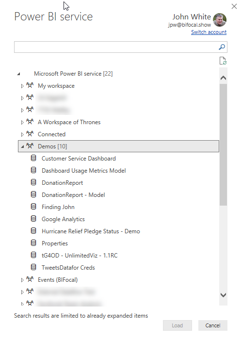 Selecting a Power BI dataset