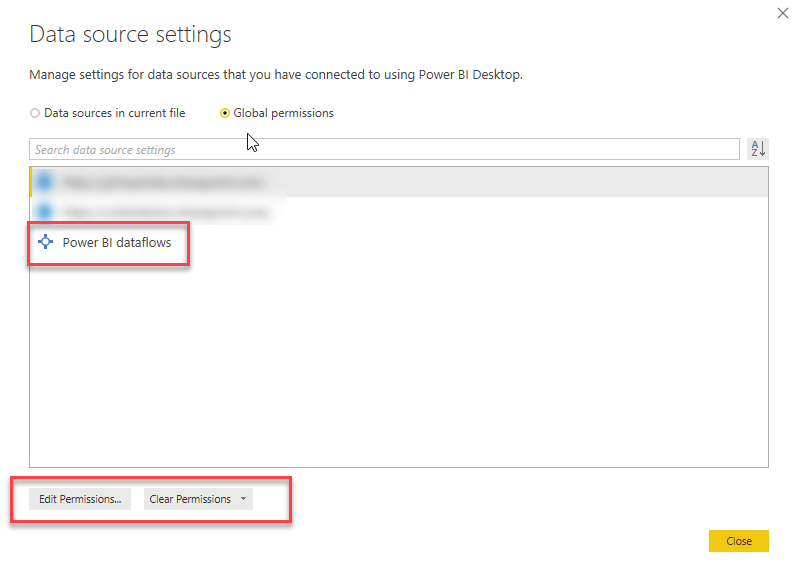 Clearing the credentials for a Power BI dataflow